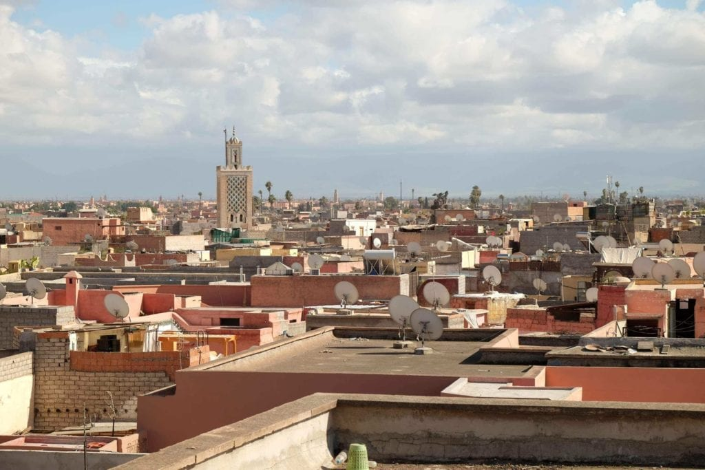 Marrakech skyline. The city is termed the Red City for its red sandstone buildings.