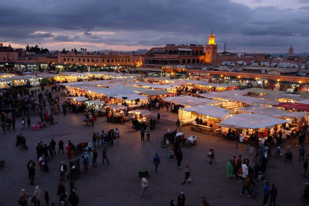 Djemaa el-Fna turns into the largest open-air restaurant when the sun sets. 100 chefs wheel out their mobile restaurants and prepare some of the best cheap eats in Marrakech.