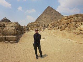 Alone by the Great Pyramid. Photo: Joanie Maro.