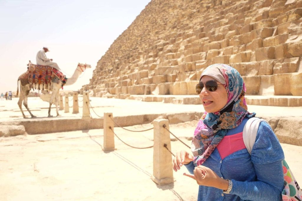 Our guide Reham Ali sharing the latest finds from the Giza Plateau. Photo: Genevieve Hathaway Photography.