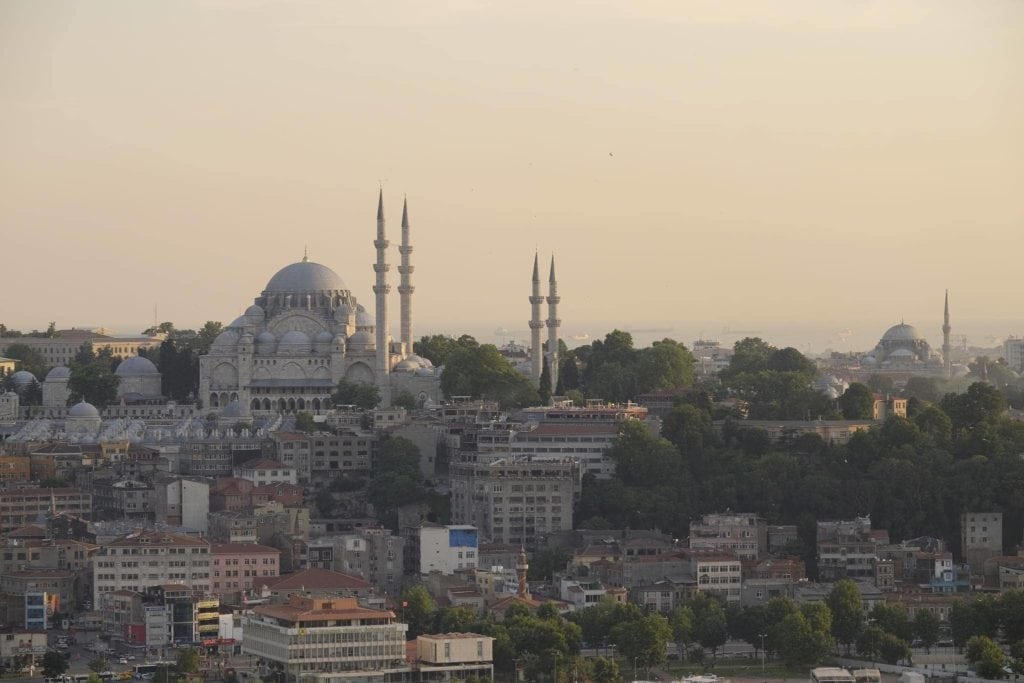 Sunset over Sultanahmet. Istanbul.