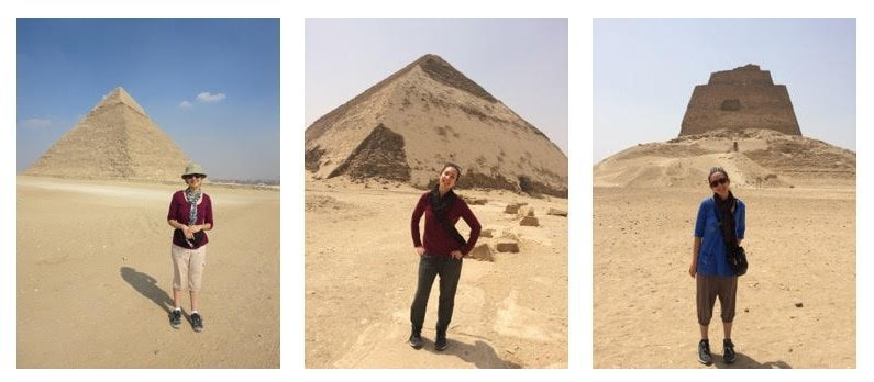 Joanie exploring Egypt in a few of her favorite travel outfits.