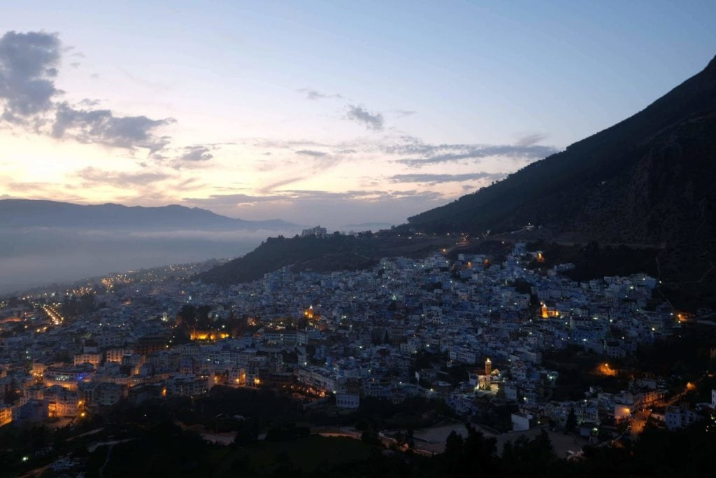 Chefchaouen at dusk. View from Spanish Mosque.