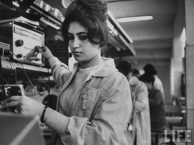 Egyptian Woman working in the TeleMisr factory. Women comprised half of the factory workers in the 1960s. Photo: Time magazine.