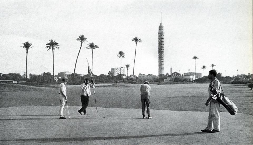 Golfing on Zamalek Island in front of the Cairo tower. Mid-1900s. Photo: Prime Magazine.
