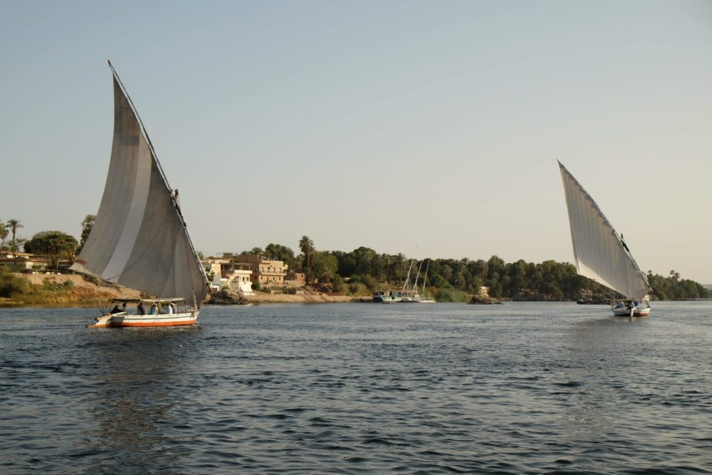 Sailing down the Nile in a traditional felucca. Photo: Genevieve Hathaway.