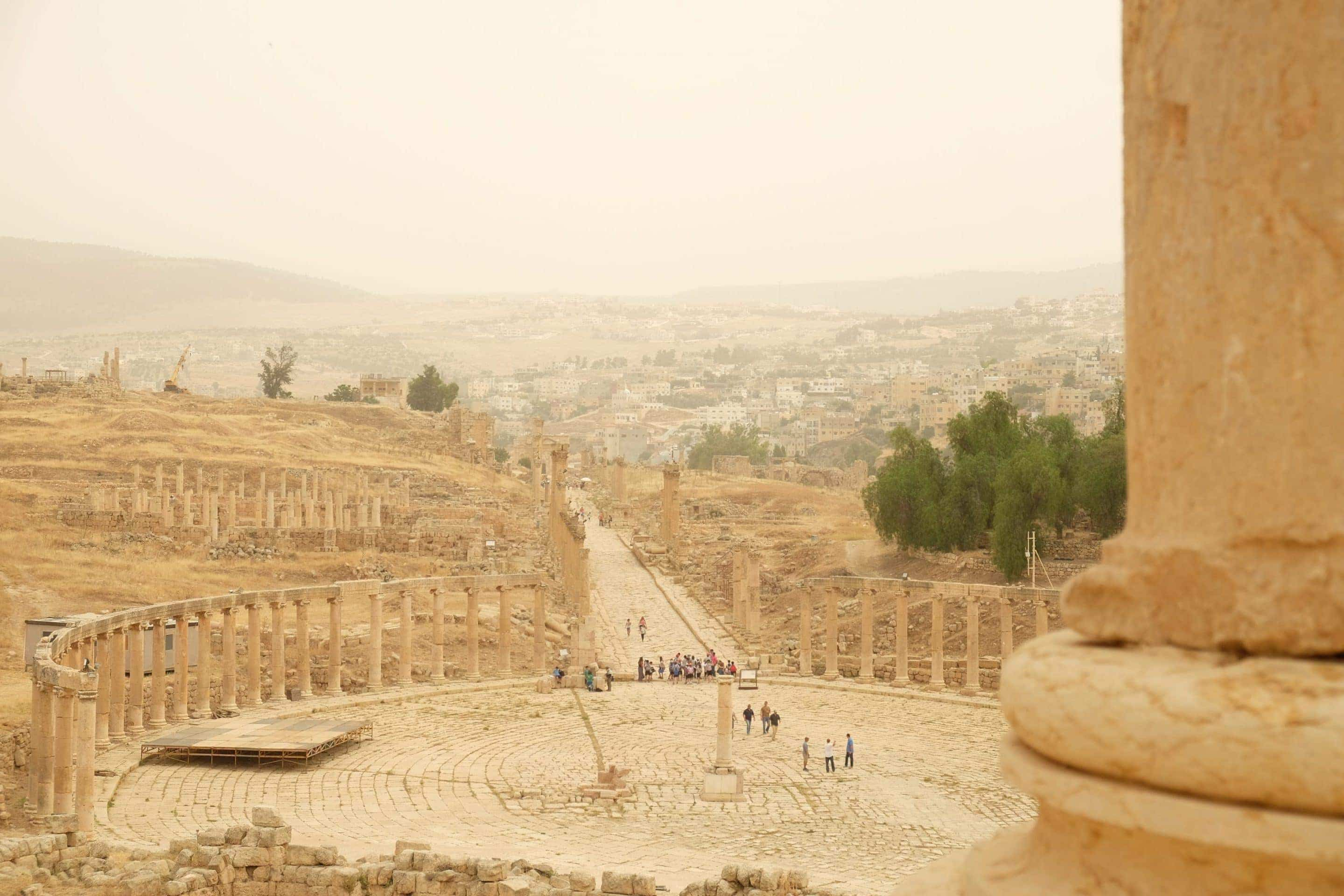 View of the Oval Plaza. Jerash is unique - not to many oval Greco-Roman plaza's out there in the world. Photo: Genevieve Hathaway Photography