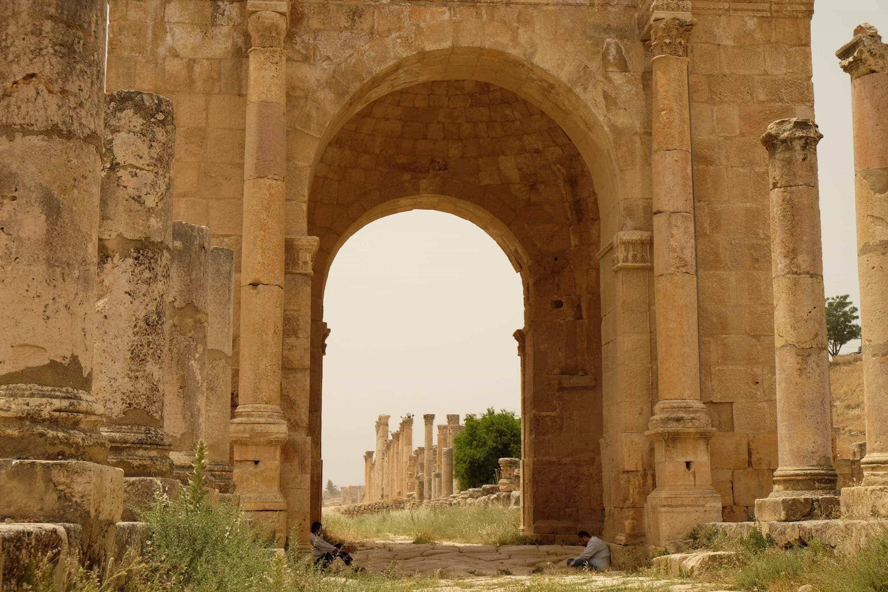 The final gate at Jerash and the end of the colonnaded street. Photo: Genevieve Hathaway Photography.