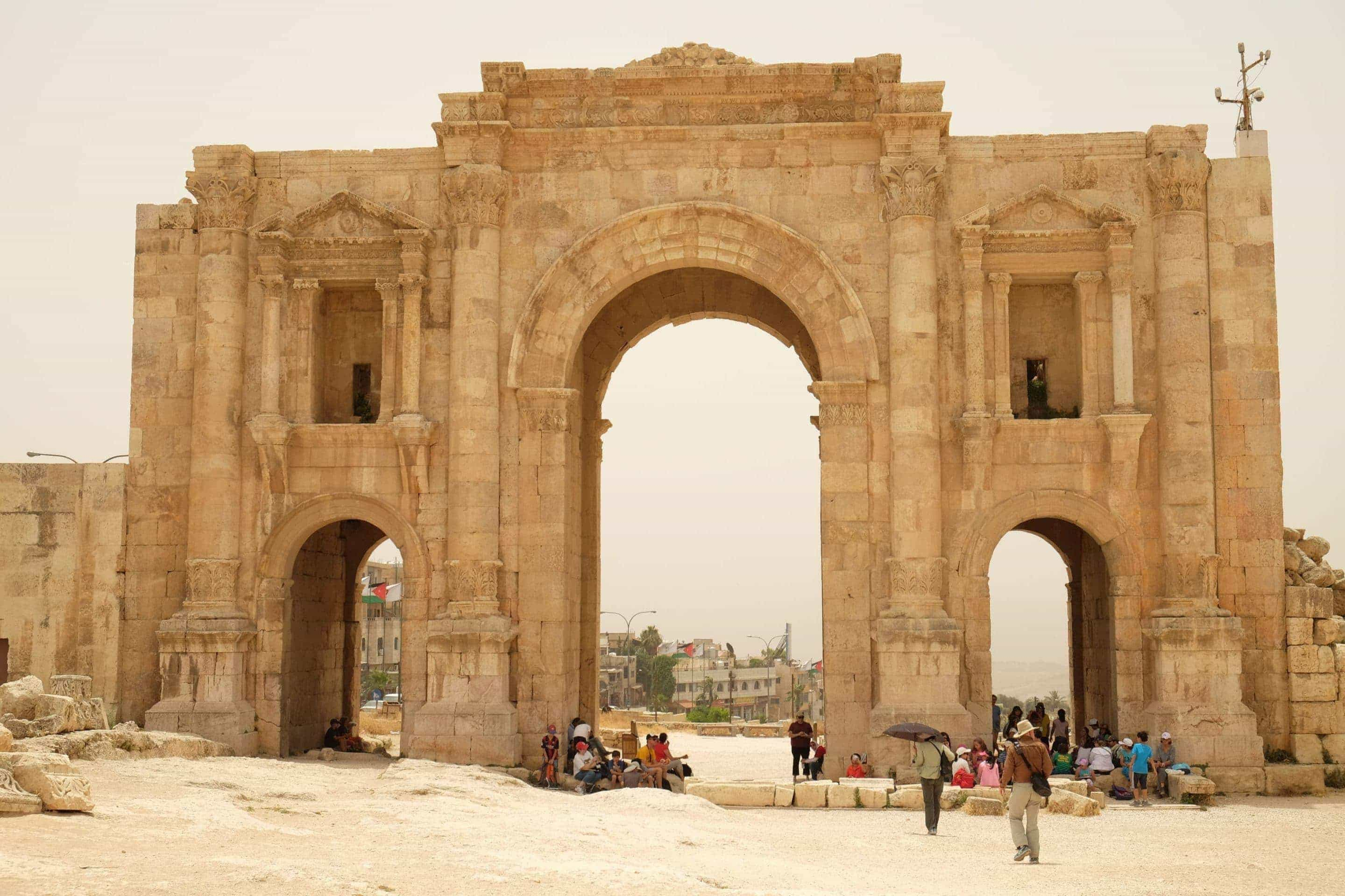 Hadrian's Gate. Main entrance to Jerash. Photo: Genevieve Hathaway Photography.