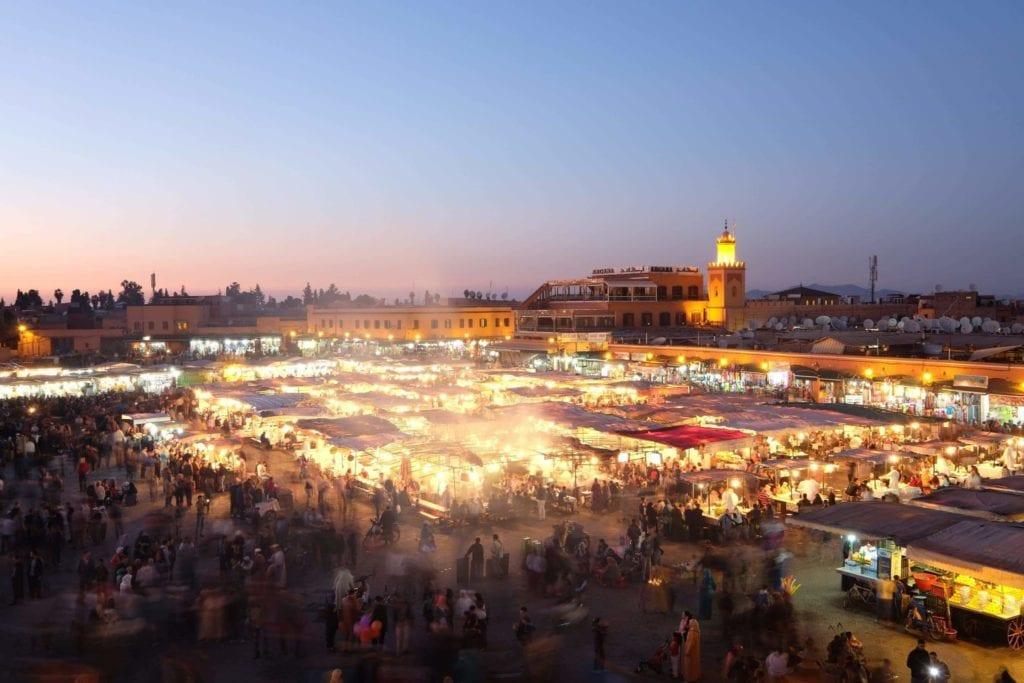 Djemaa el-Fna at sunset. Marrakech, Morocca.