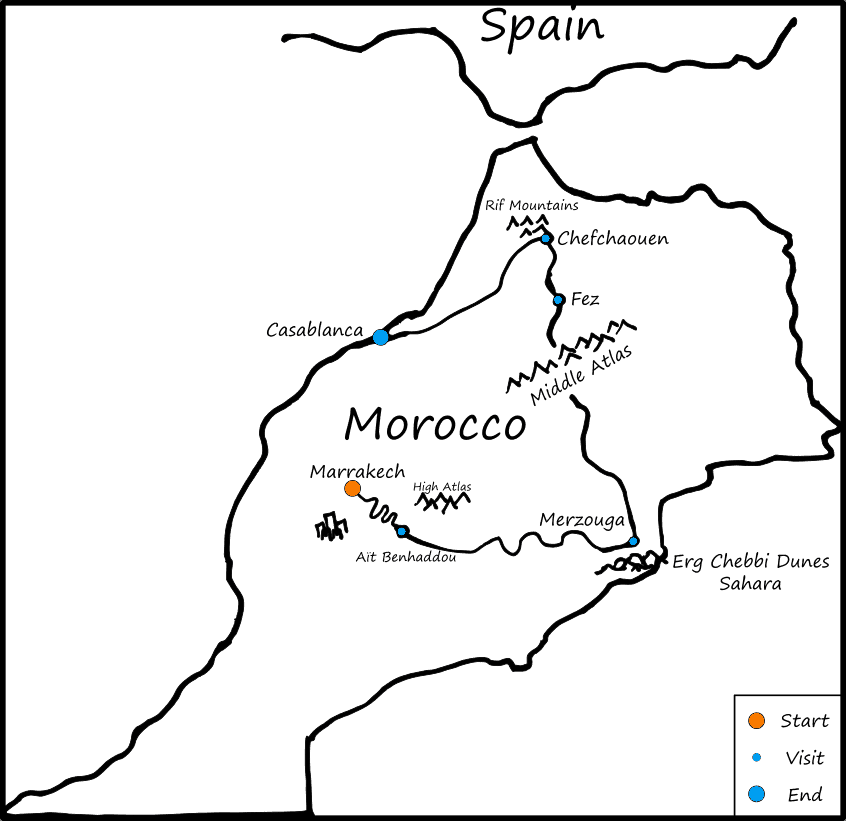 Majestic Morocco Tour Map