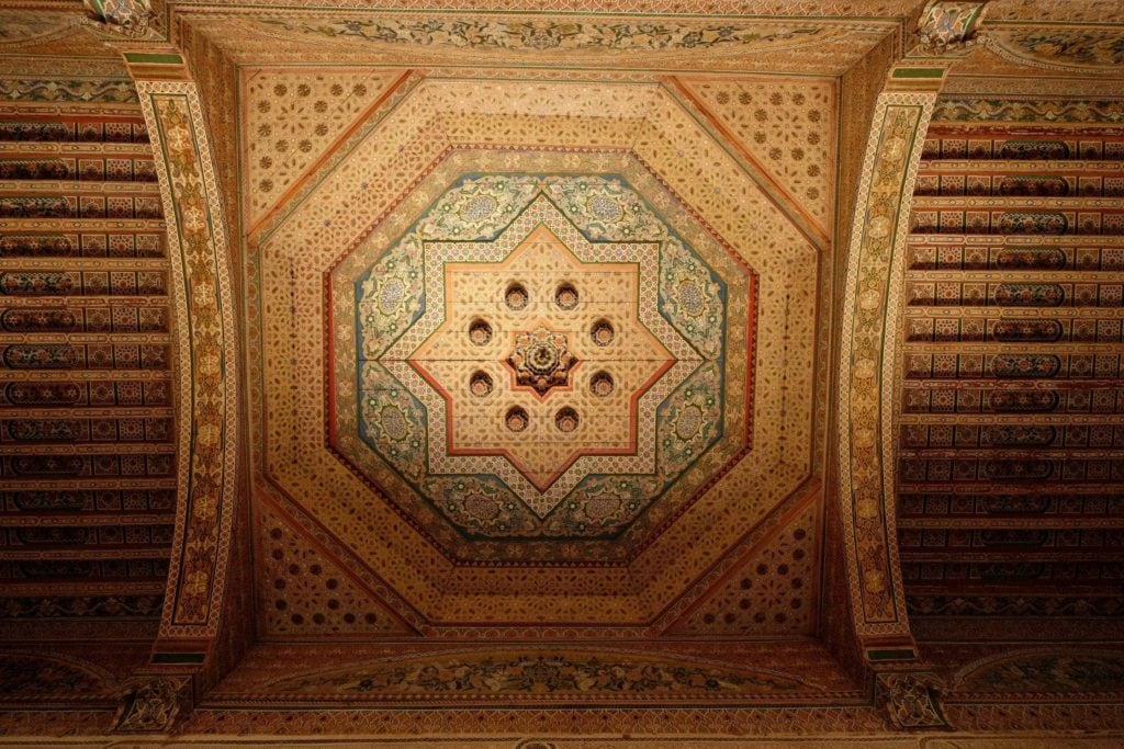 Bahia Palace ceiling. Marrakech, Morocco. ArchaeoAdventures Tours.