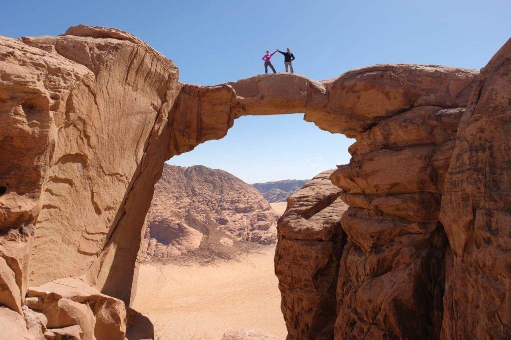 Hiking in Wadi Rum Jordan.