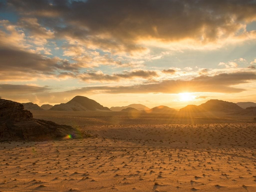 Sunset at Wadi Rum Jordan.