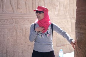 Egypt tour leader Yassmin explaining the history behind Kom Ombo